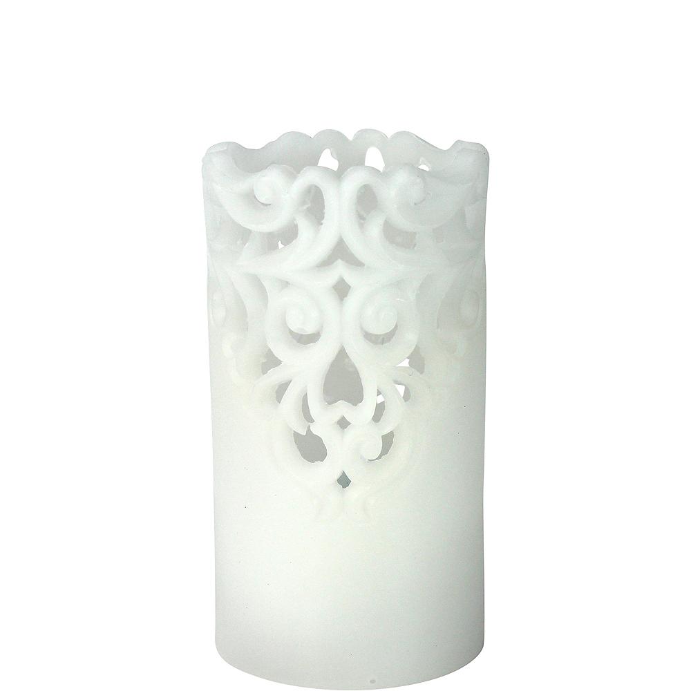 White Lace Pillar Flameless LED Candle Image #1