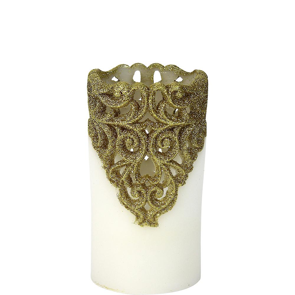 Gold Glitter Lace Pillar Flameless LED Candle Image #1