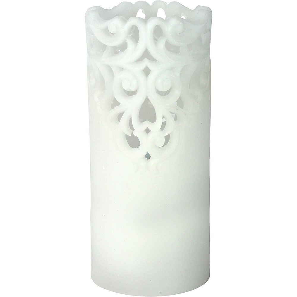 Tall White Lace Pillar Flameless LED Candle Image #1