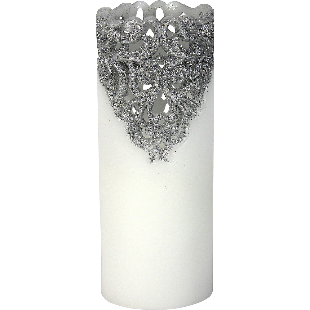 Tall Silver Glitter Lace Pillar Flameless LED Candle Image #1