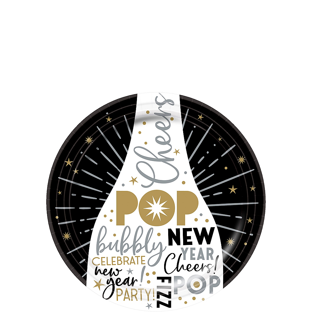 Black, Gold & Silver New Year's Eve Dessert Plates 60ct Image #1