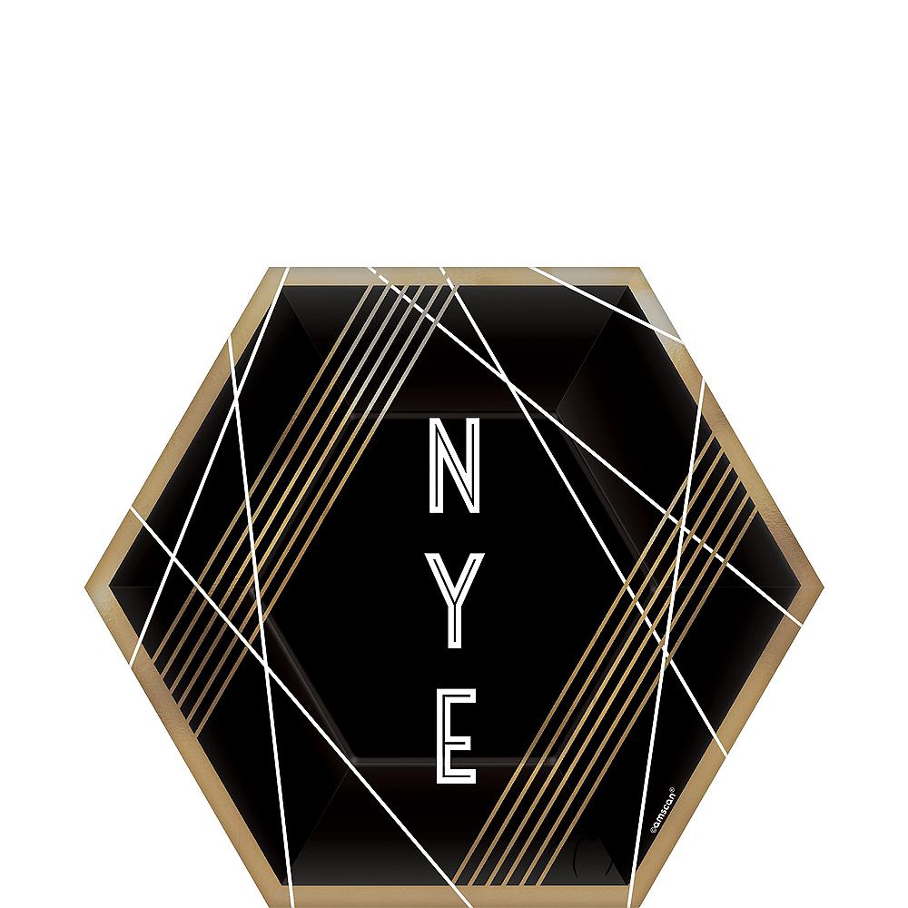 Black, Gold & White NYE Hexagon Dessert Plates 8ct Image #1