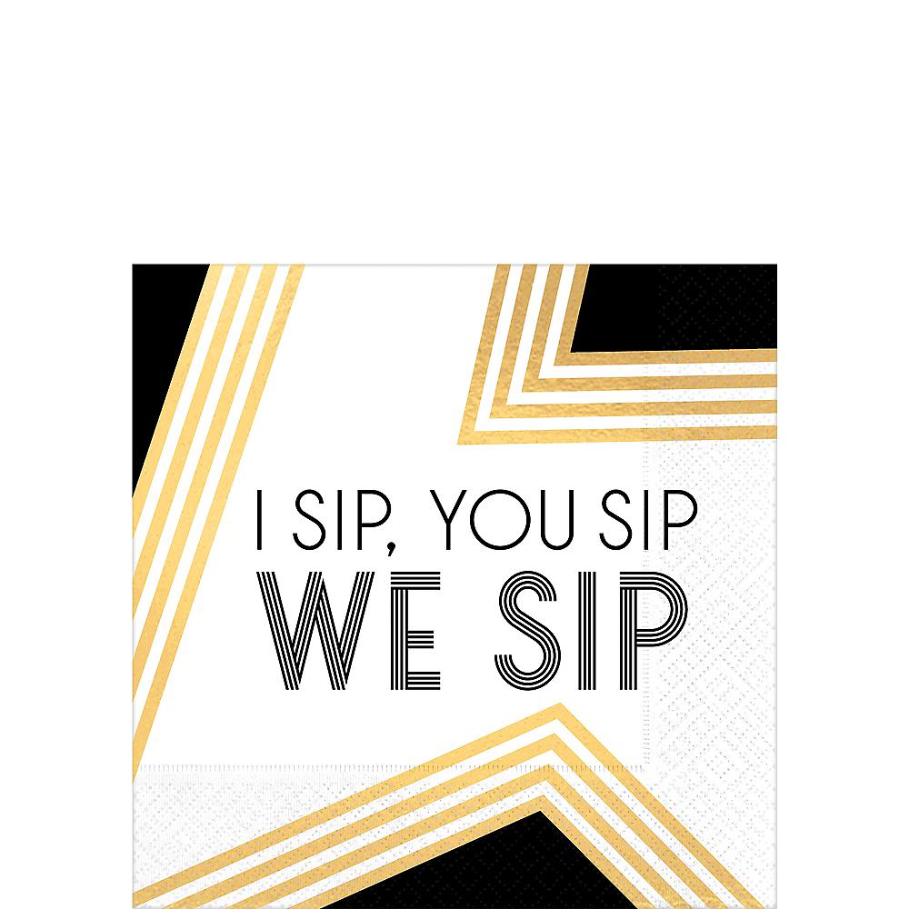 Black, Gold & White We Sip Beverage Napkins 16ct Image #1