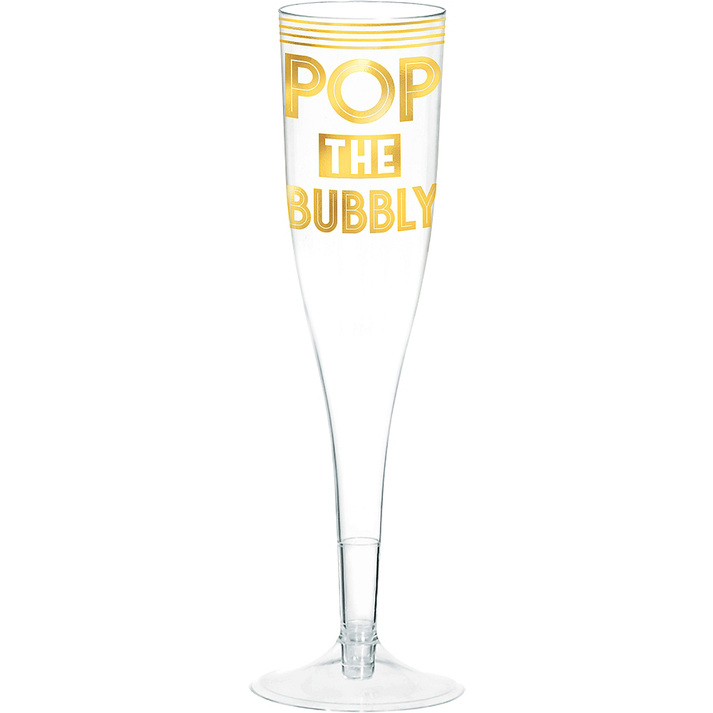 Metallic Gold Pop the Bubbly Champagne Flutes 16ct Image #1