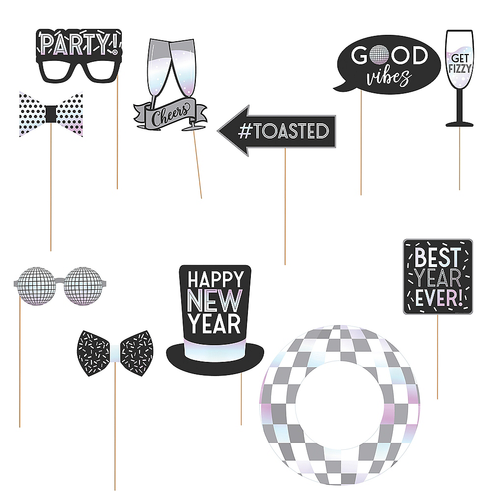 Disco New Year's Eve Photo Booth Props 12ct Image #1