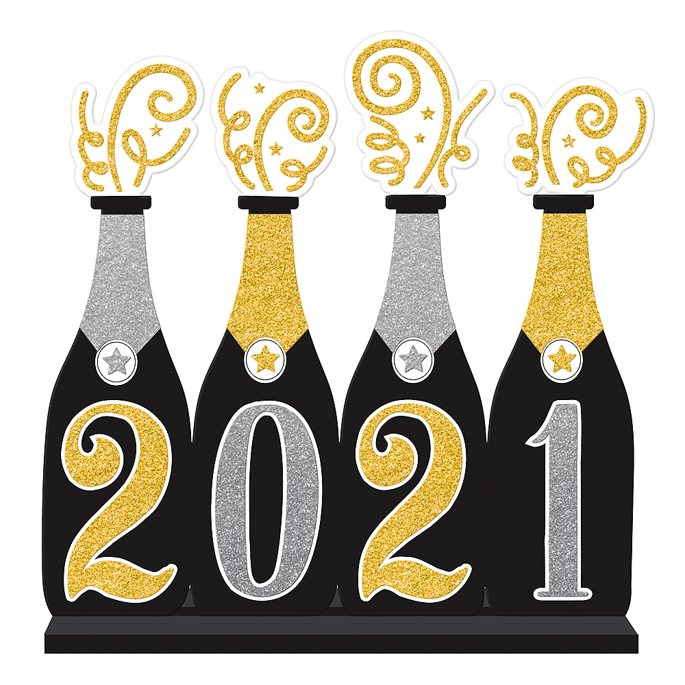 Glitter Gold & Silver 2021 Champagne Bottles Table Sign Image #1