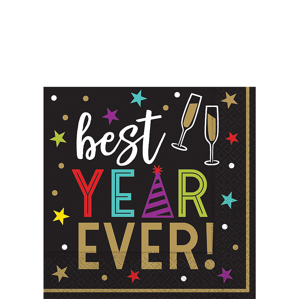 Best Year Ever Hexagon Beverage Napkins 125ct Image #1