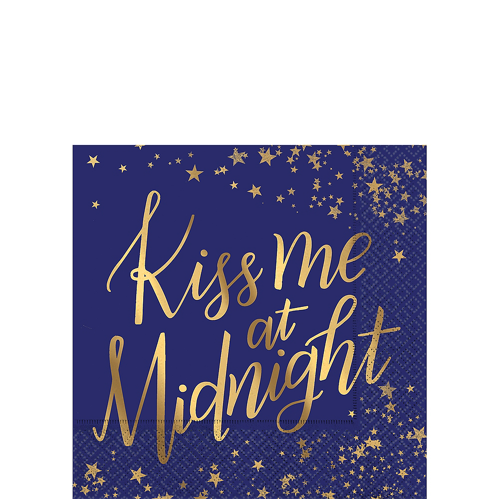 Metallic Gold Midnight New Year's Eve Beverage Napkins 16ct Image #1