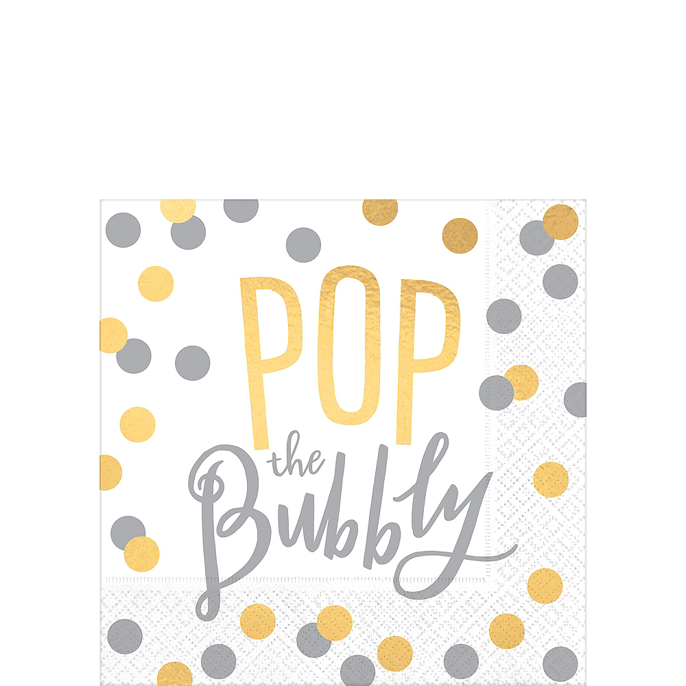 Metallic Gold & Silver Pop the Bubbly Beverage Napkins 16ct Image #1