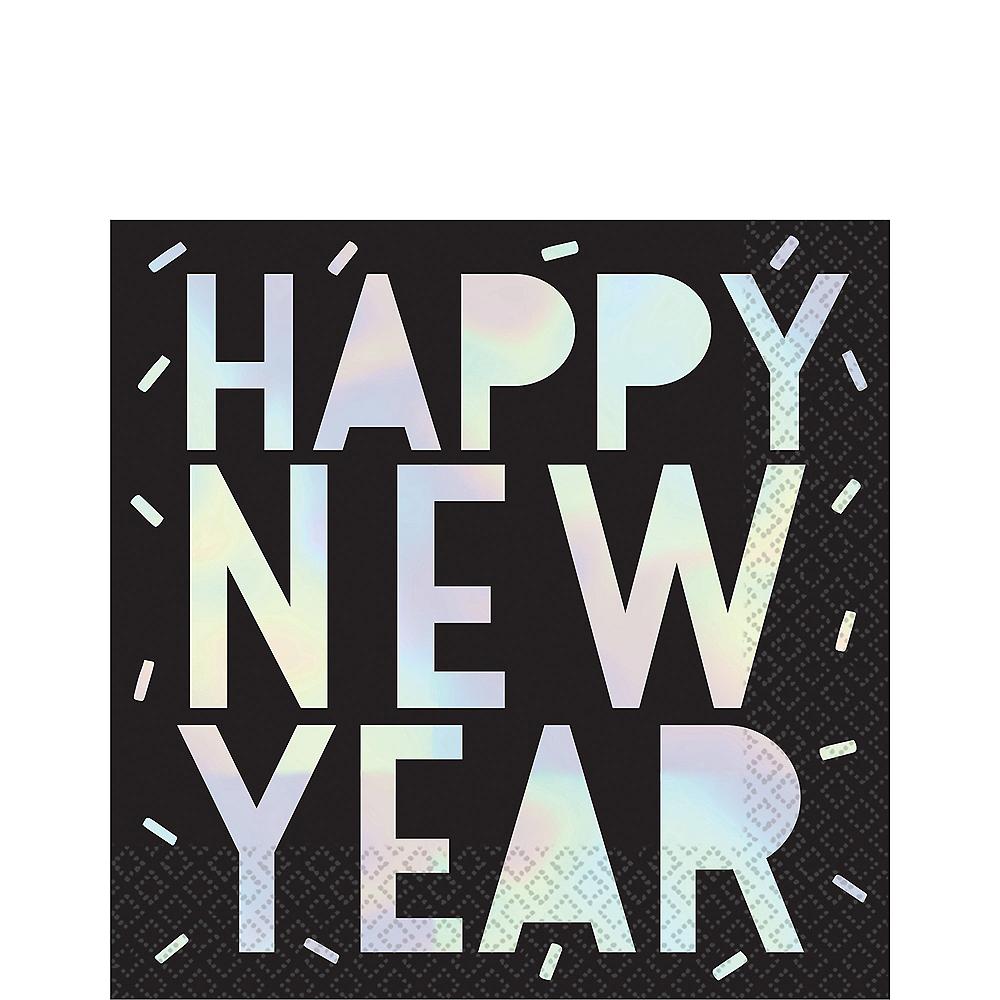 Black & Iridescent Happy New Year Lunch Napkins 16ct Image #1