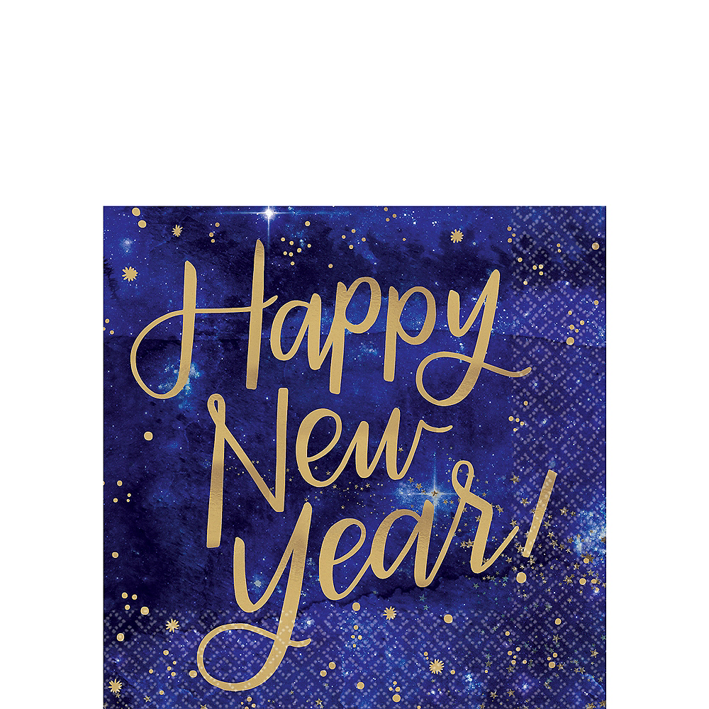 Nav Item for Metallic Gold Midnight Happy New Year Beverage Napkins 16ct Image #1