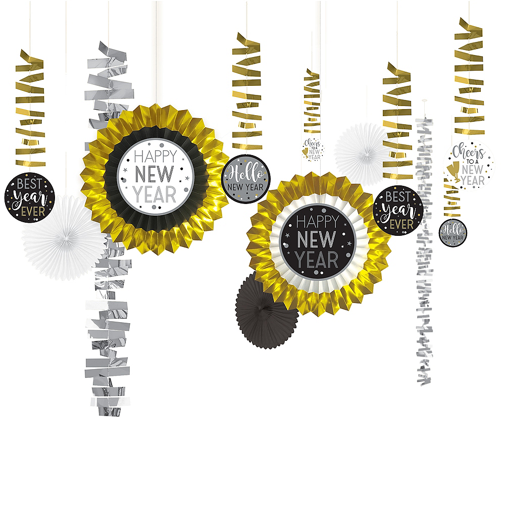 Black, Gold & Silver New Year's Eve Room Decorating Kit 13pc Image #1