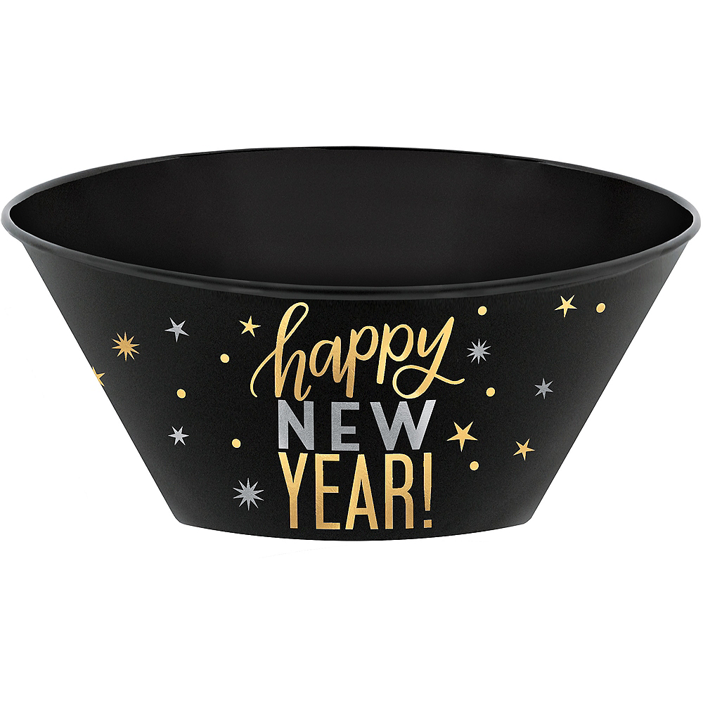 Metallic Gold & Silver Happy New Year Serving Bowl Image #1