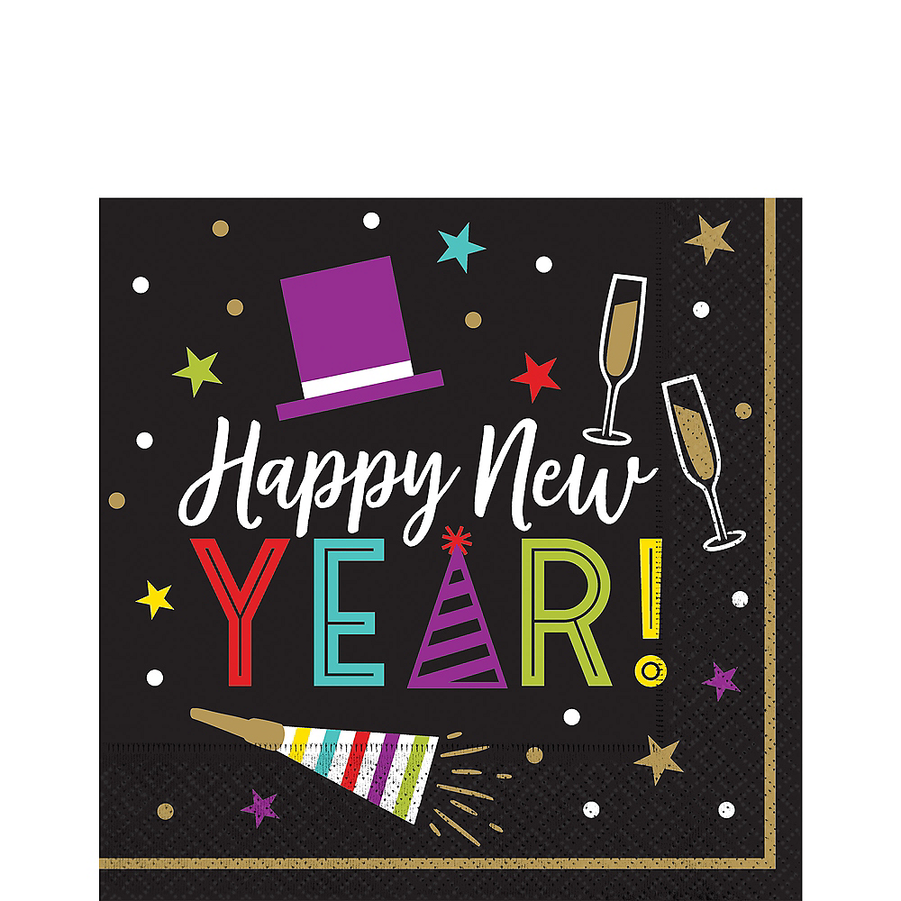Colorful Happy New Year Lunch Napkins 125ct Image #1