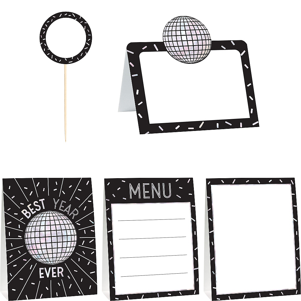 Black & Silver New Year's Eve Buffet Decorating Kit 12pc Image #1