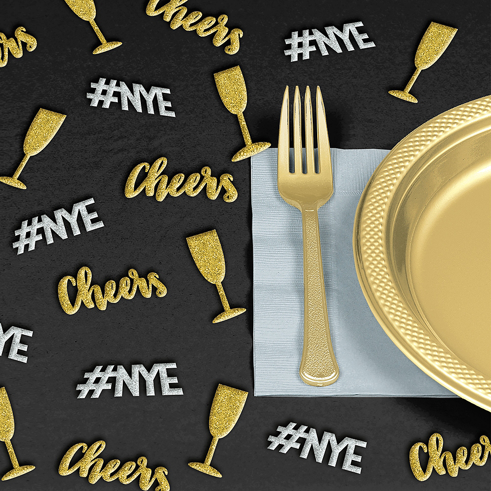 Glitter Gold & Silver New Year's Eve Table Scatter 24ct Image #1