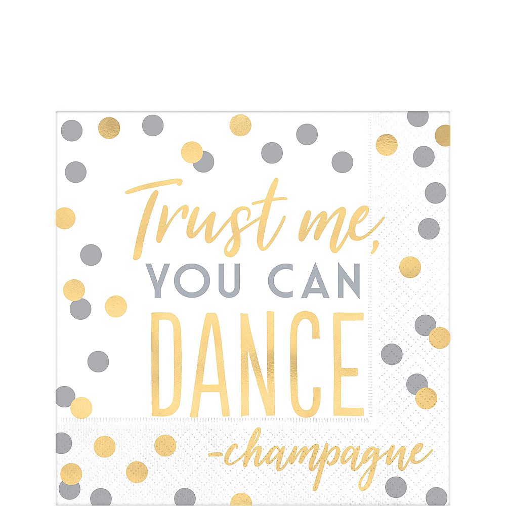 Nav Item for Metallic Gold & Silver You Can Dance Lunch Napkins 16ct Image #1
