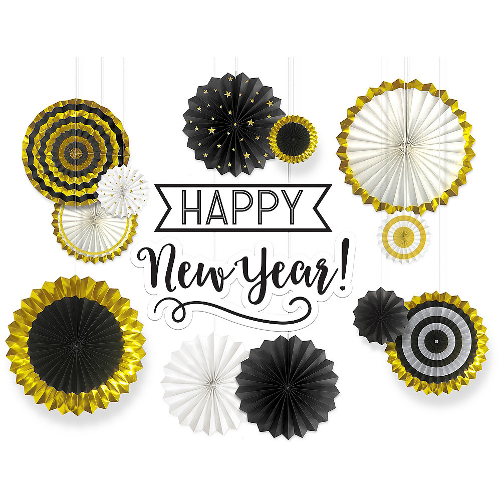 Happy New Year Paper Fan Decorating Kit 14pc Image #1