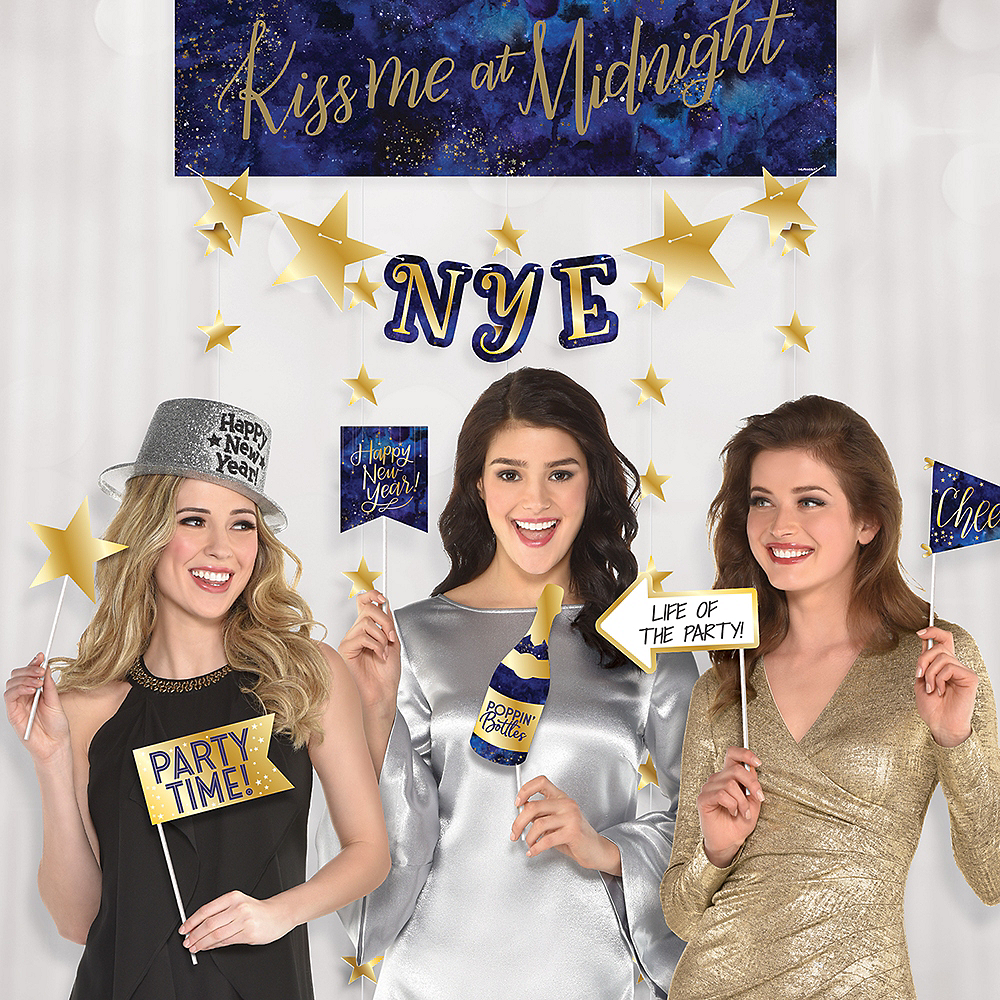 Midnight New Year's Eve Photo Booth Backdrop with Photo Booth Props 14pc Image #1
