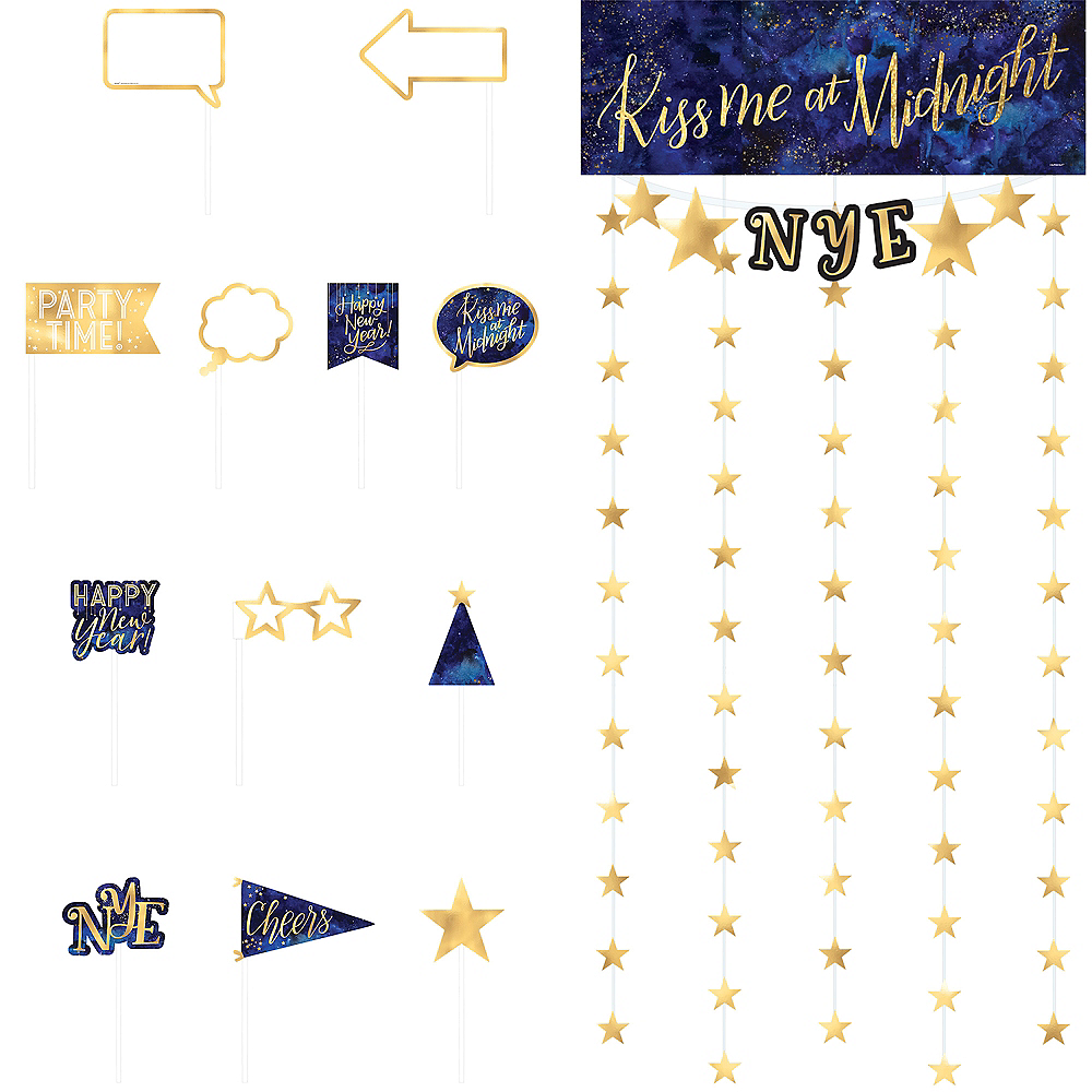 New Year/'s Eve Party Kiss Me At Midnight Gold Glitter Banner With Blue Ribbon