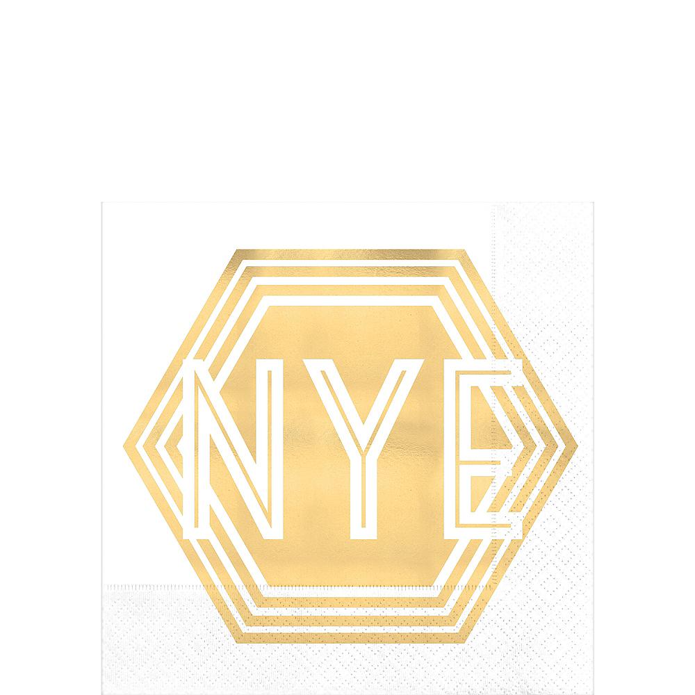 Metallic Gold NYE Hexagon Beverage Napkins 16ct Image #1