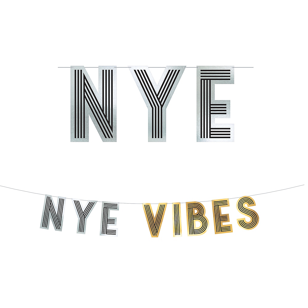 Gold & Silver NYE Vibes Letter Banner Image #1