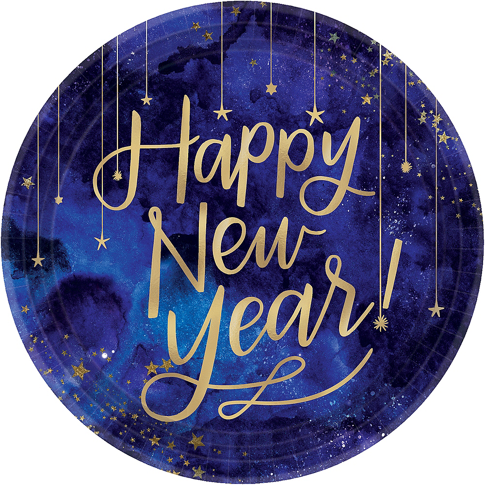 Metallic Gold Midnight Happy New Year Dinner Plates 8ct Image #1