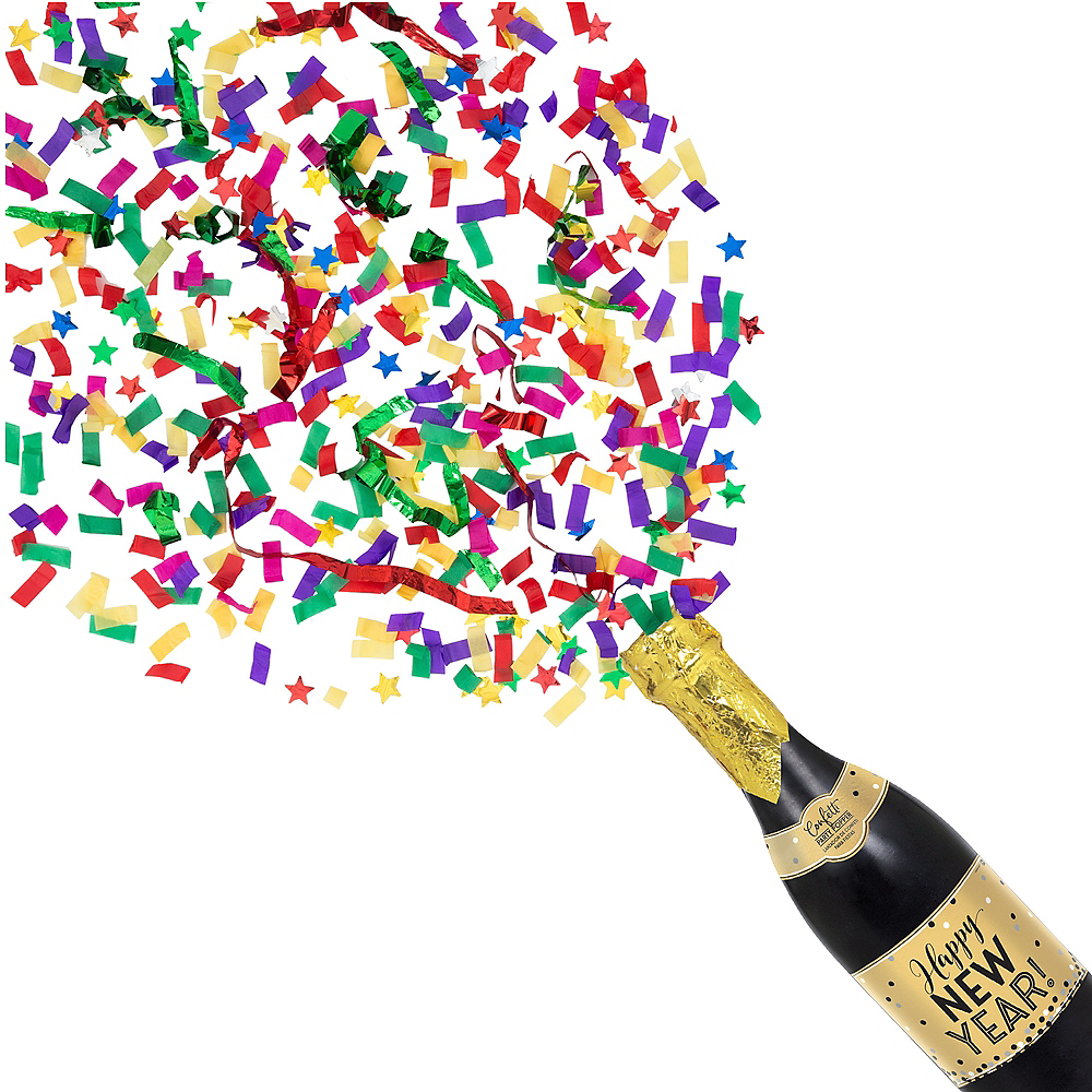 Happy New Year Champagne Bottle Confetti Popper Image #1