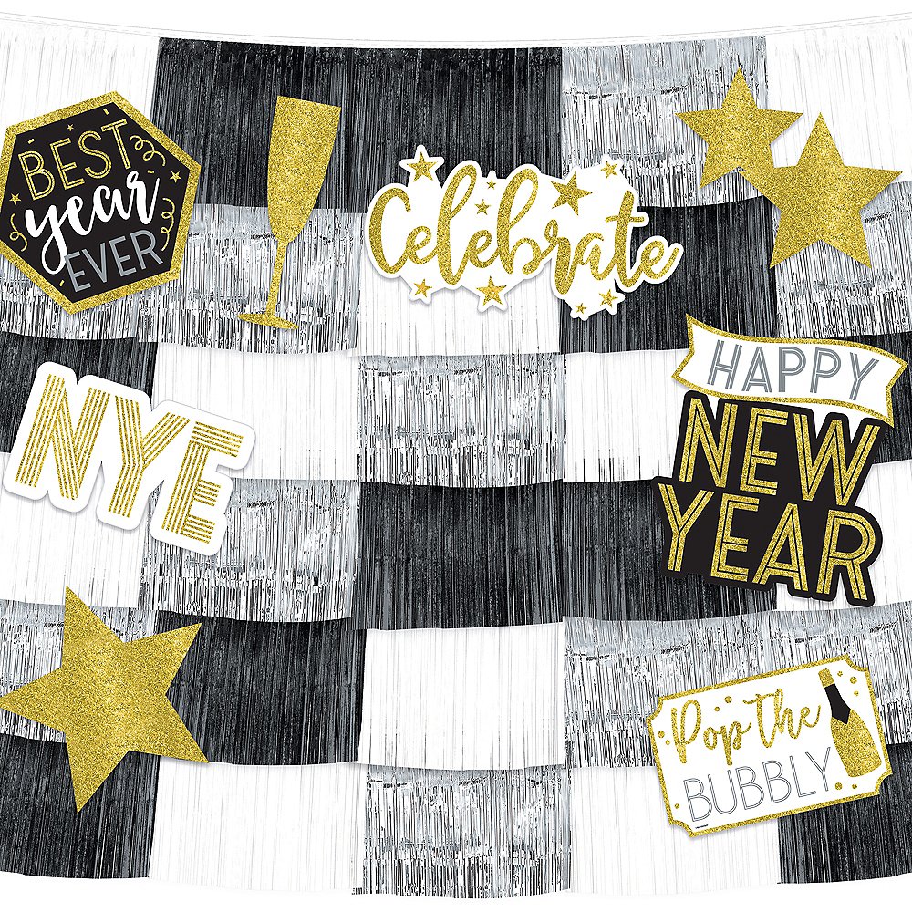 New Year's Eve Fringe Banners with Cutouts 14pc Image #1