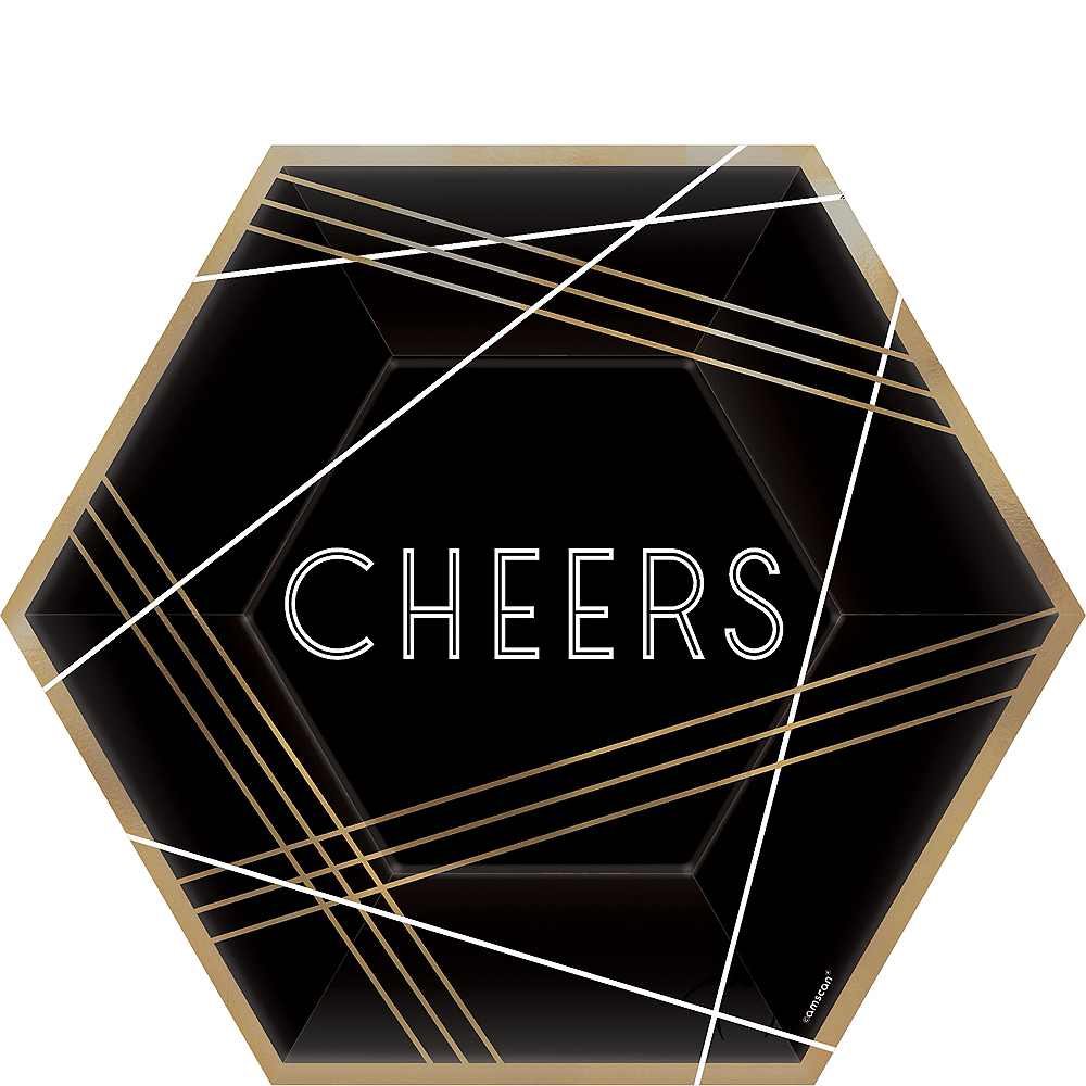 Black, Gold & White Cheers Hexagon Lunch Plates 8ct Image #1