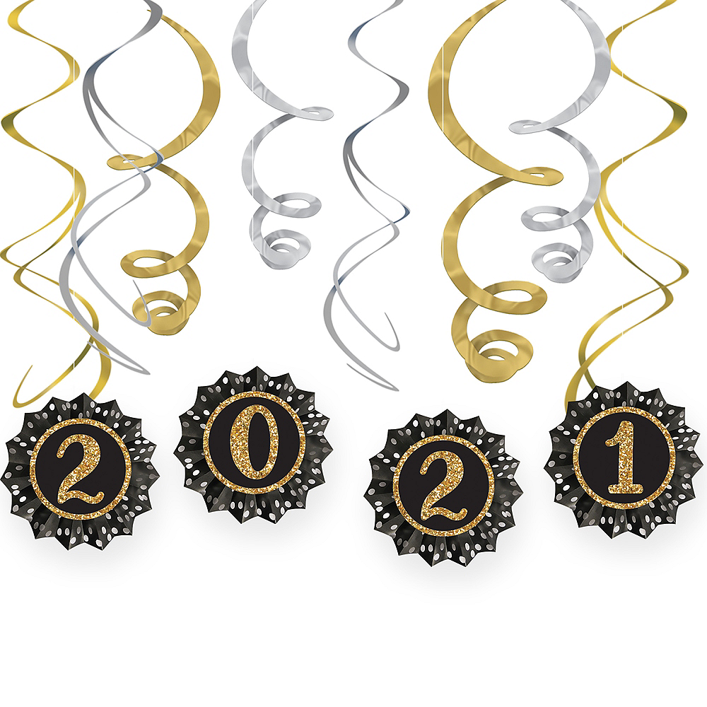 New Year's Eve 2020 Paper Fan & Swirl Decorations 12pc Image #1