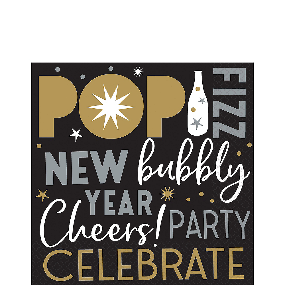 Black, Gold & Silver New Year's Eve Lunch Napkins 125ct Image #1