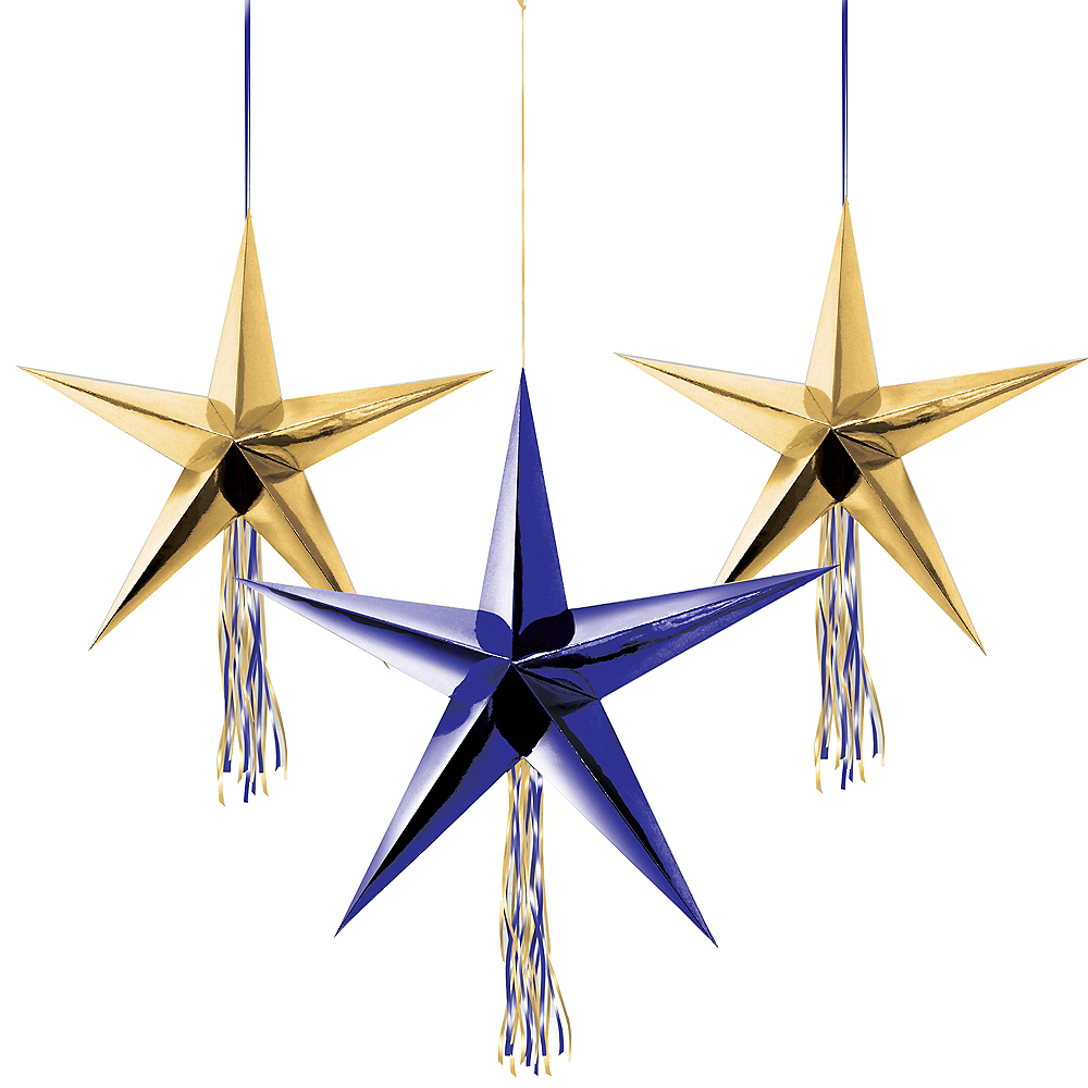 Blue & Gold Star Decorations 3ct Image #1