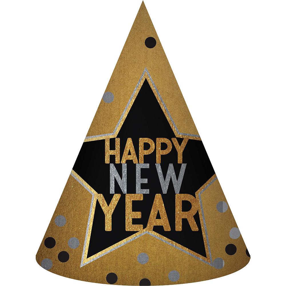 Black, Gold & Silver Happy New Year Party Hat Image #1