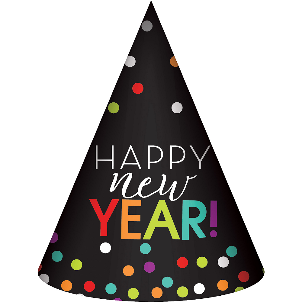 Rainbow Dots Happy New Year Party Hat Image #1