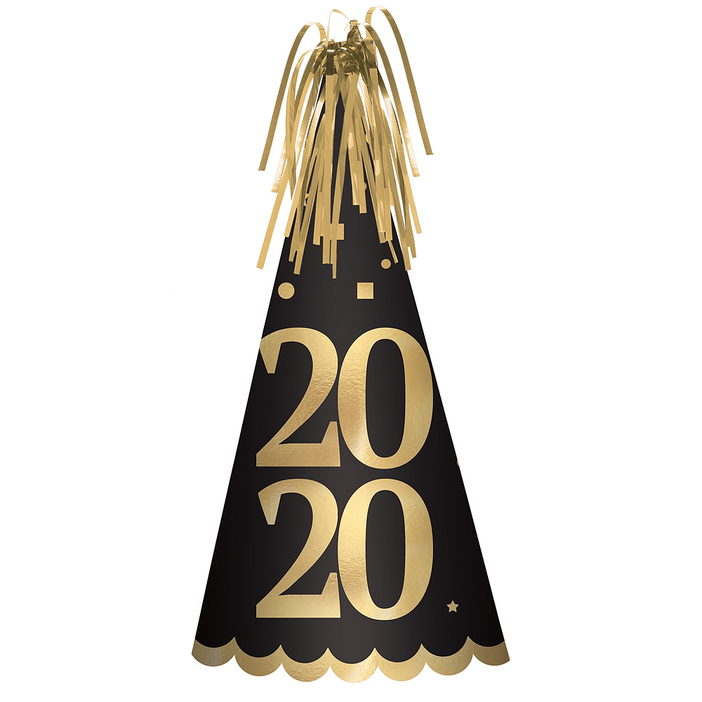 Black & Gold 2020 New Year's Eve Party Hat Image #1