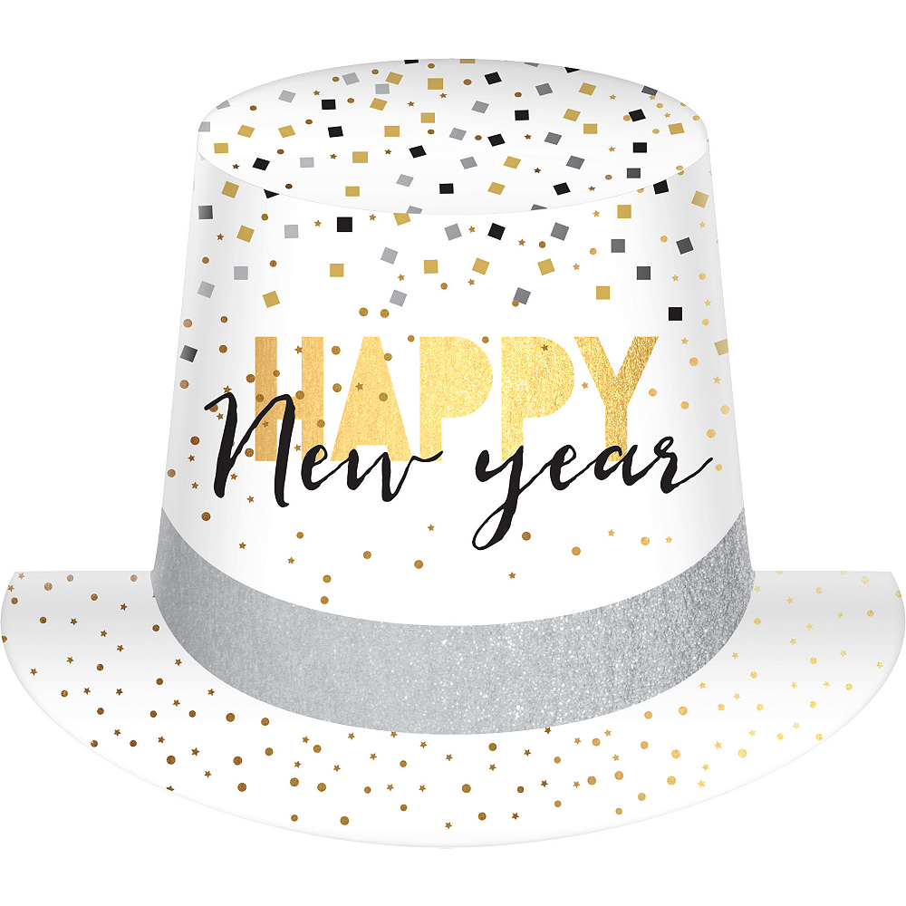 Black, Gold & Silver Confetti Happy New Year Top Hat Image #1