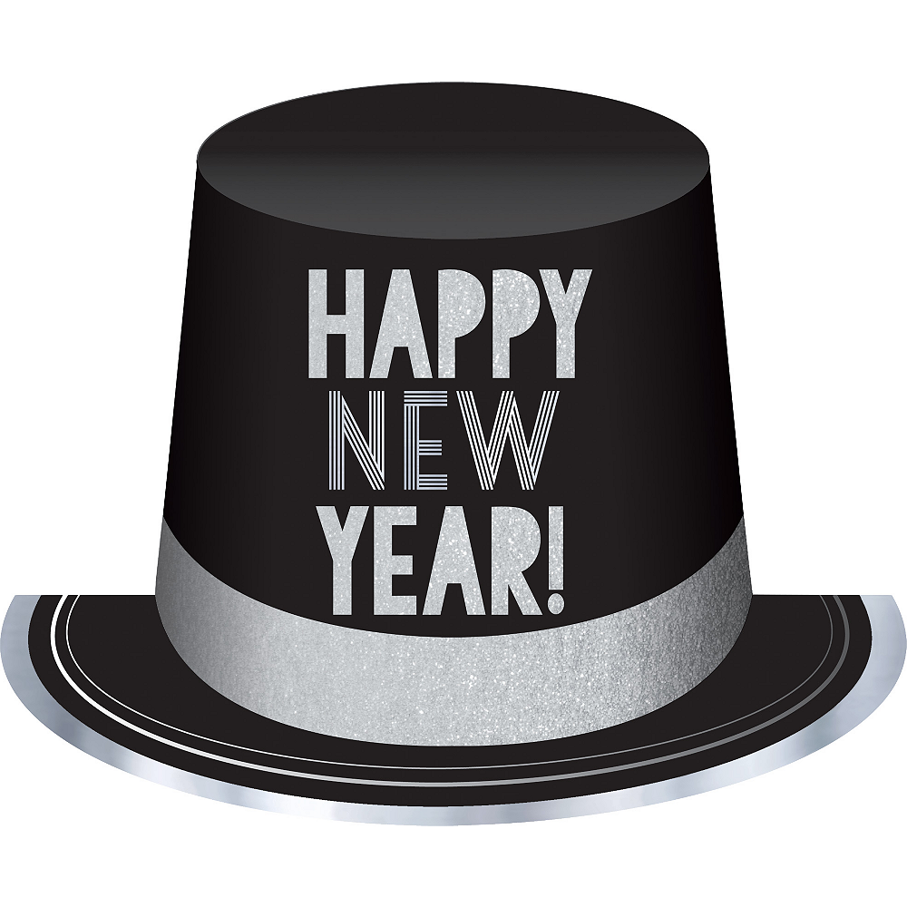 Black & Silver New Year's Eve Top Hat Image #1