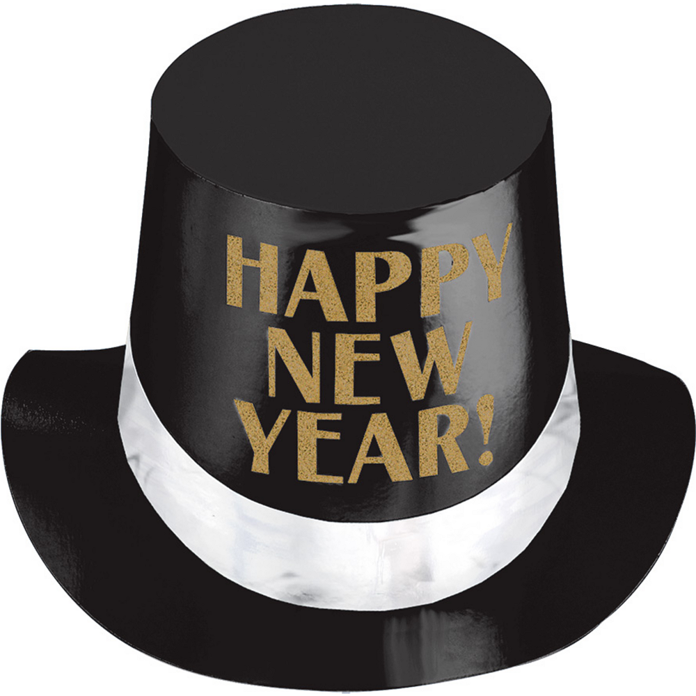 Black, Gold & White Happy New Year Top Hat Image #1