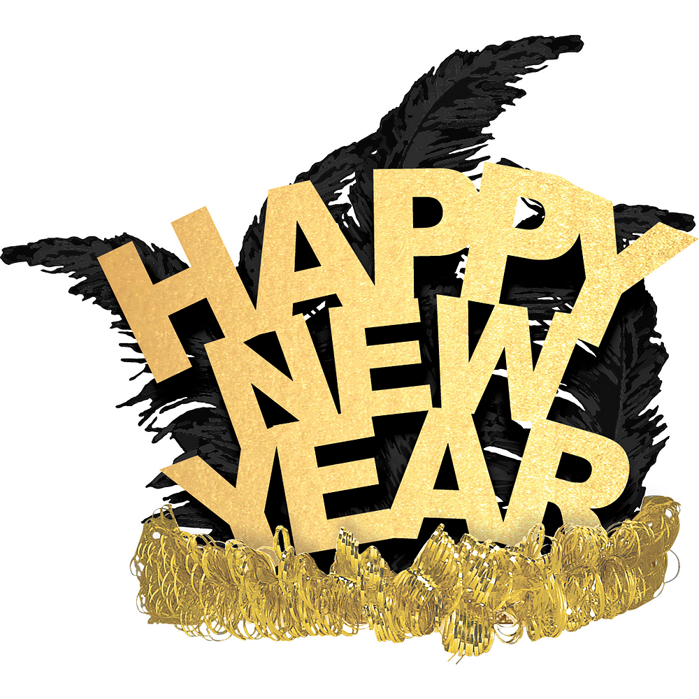 Black & Gold Happy New Year Feather Tiara Image #1