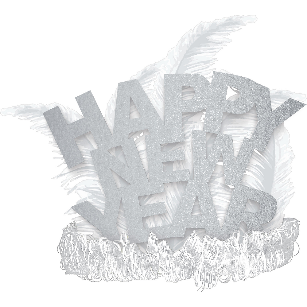 Silver & White Happy New Year Feather Tiara Image #1