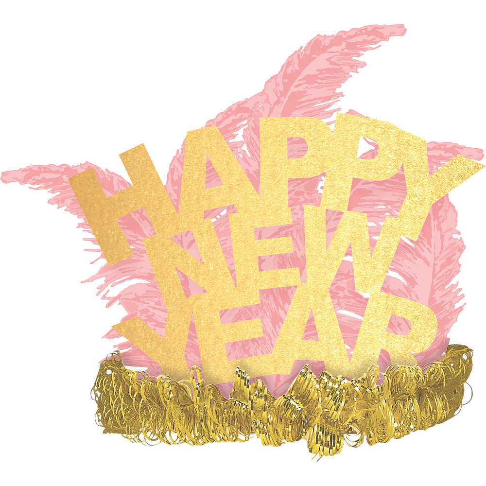 Gold & Pink Happy New Year Feather Tiara Image #1