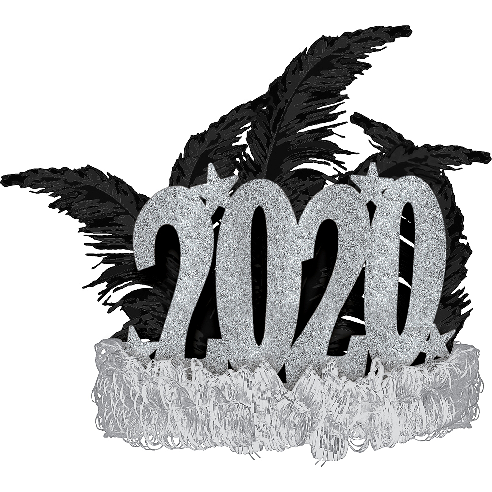 Black & Silver 2020 New Year's Eve Feather Tiara Image #1