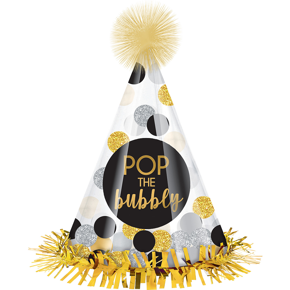 Clear Pop the Bubbly Party Hat Image #1