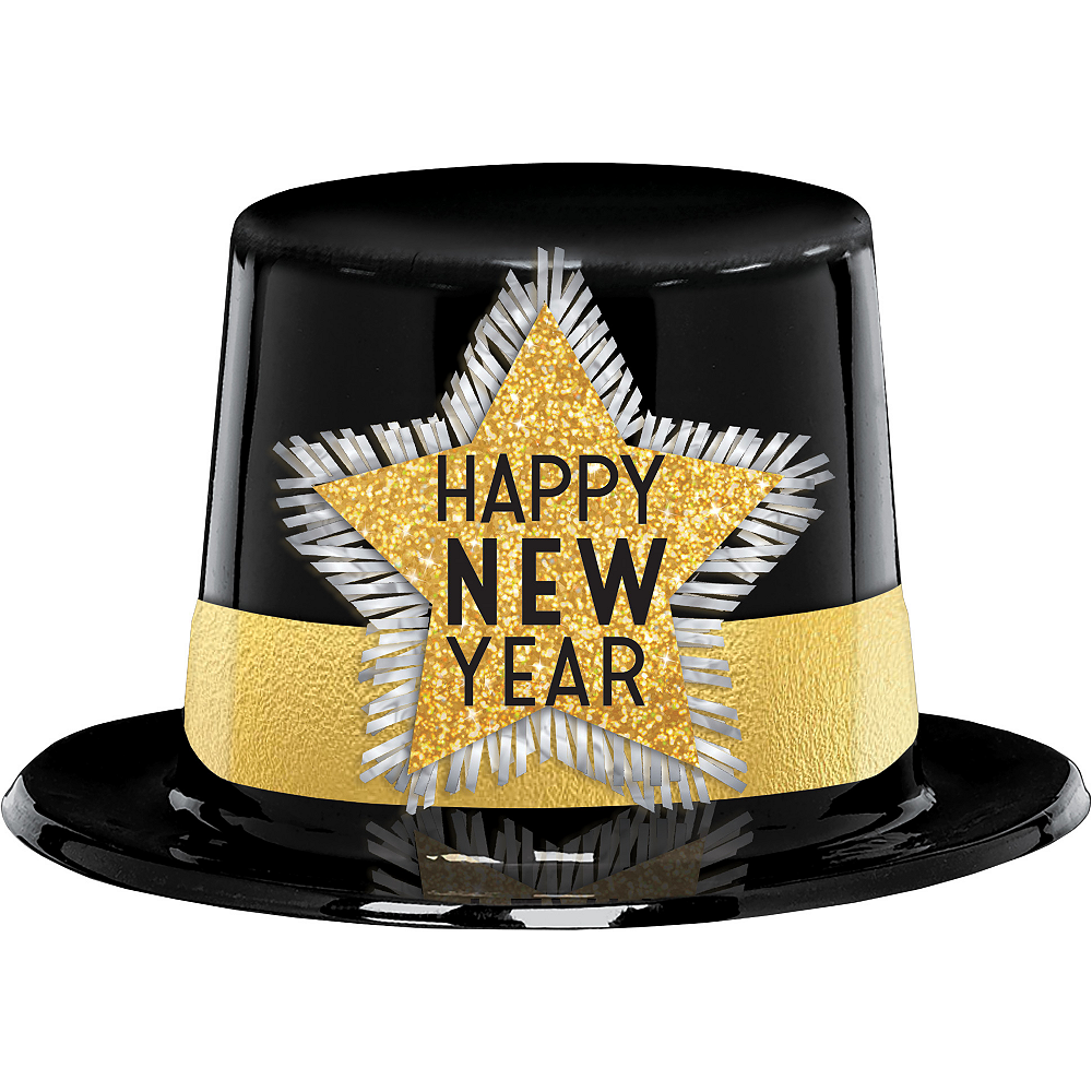 Glitter Black & Gold Happy New Year Top Hat Image #1