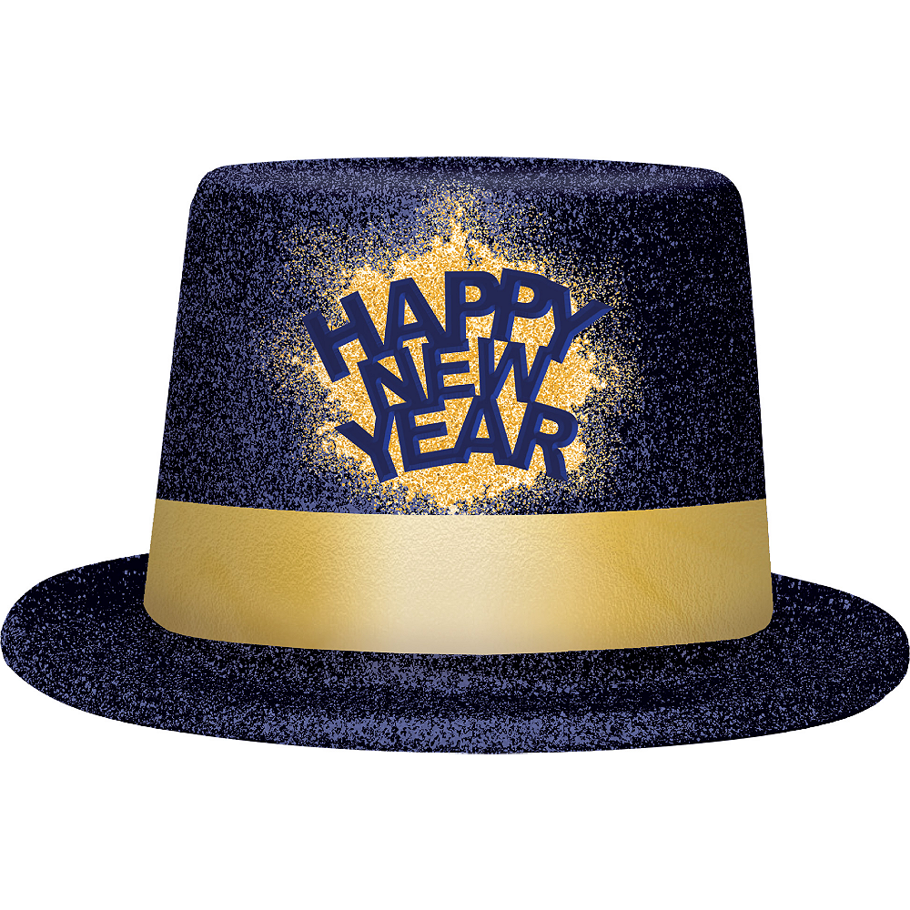 Glitter Blue & Gold Happy New Year Top Hat Image #1