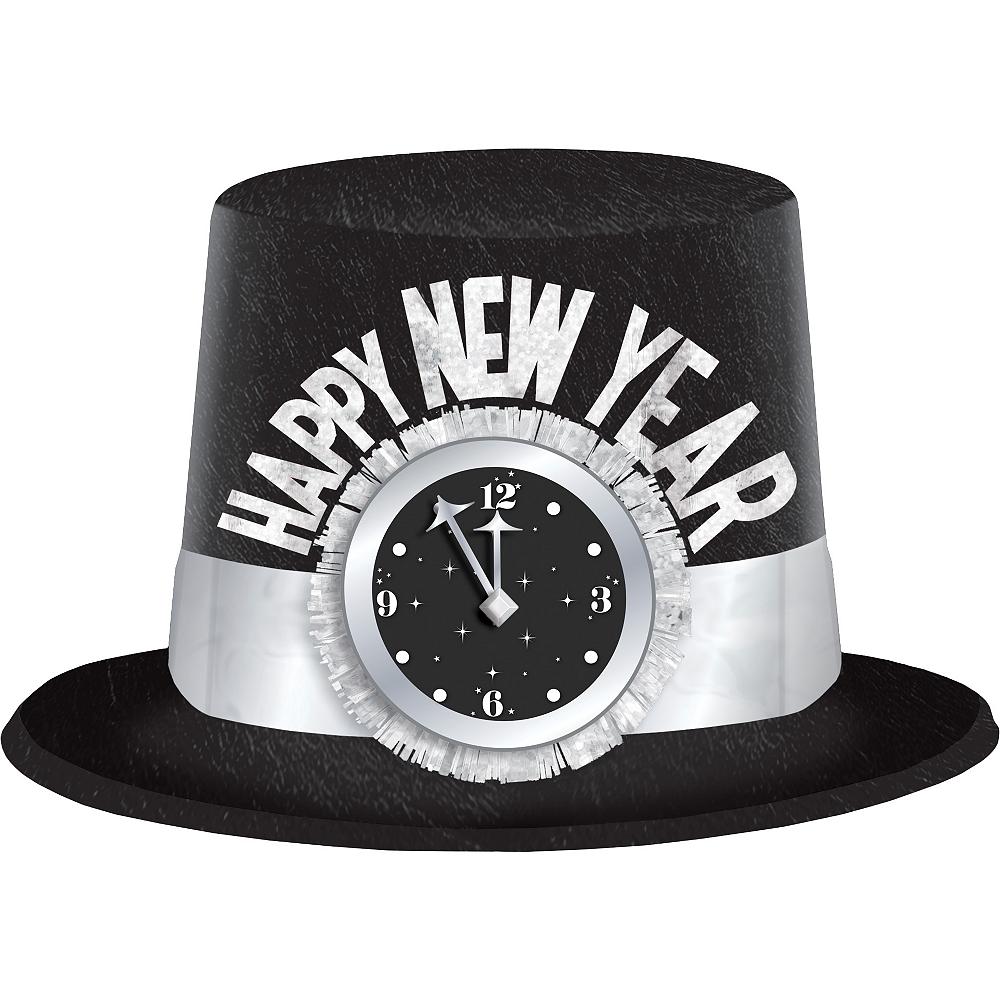 Glitter Black & Silver Clock Happy New Year Top Hat Image #1