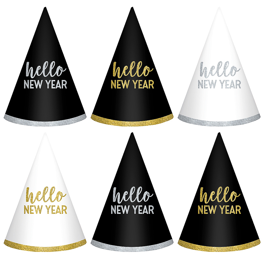 Glitter Hello New Year Party Hats 6ct Image #1