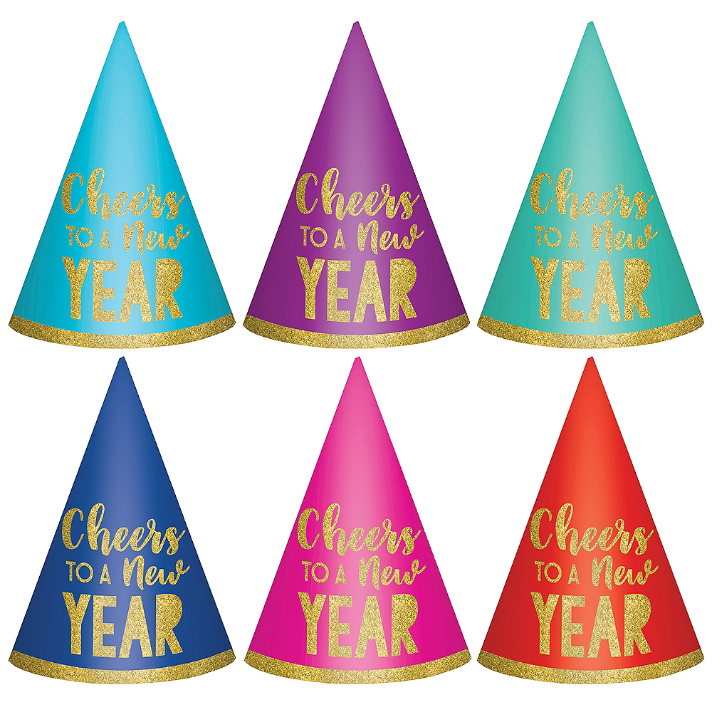 Nav Item for Glitter Cheers to a New Year Party Hats 6ct Image #1