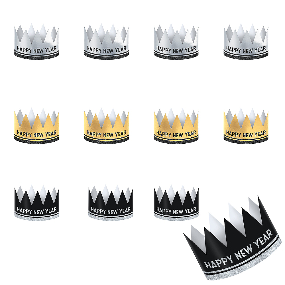 Glitter Black, Gold & Silver Happy New Year Crowns 12ct Image #1